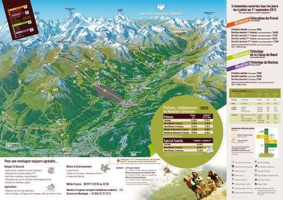 Plan des randonnées. découvrez le domaine d'altitude de Serre Chevalier en été