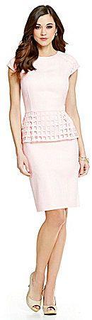 Antonio Melani Bae Snake Jacquard & Cage Lace Peplum Sheath Dress