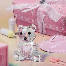 Crystal Teddy Bear Pink Keychain Christening Bomboniere