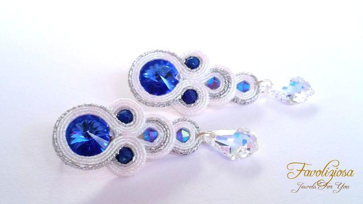 """Soutache earrings  Orecchini soutache """"Tears"""" Sapphire di Favoliziosa su Etsy"""