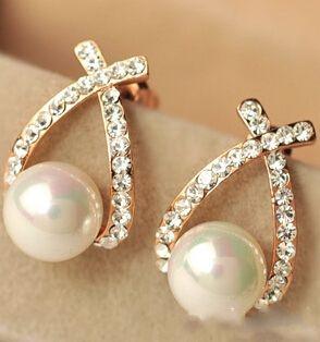 2016  Crystal Rhinestone simulated pearl Bowknot Design Girls Ear Stud Earring Earing Fashion Jewelry Women earrings  e0156