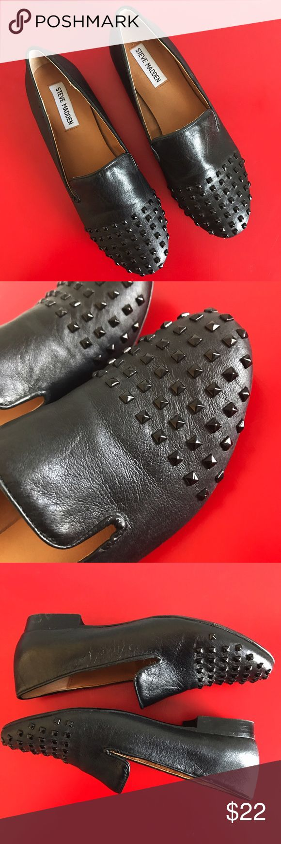 Steve Madden Black Studded Loafers Steve Madden Black Studded Loafers looking for a new home! Only worn twice & in great condition! One stud missing from the side of left shoe but hardly noticeable. Leather uppers. Size US 7.5! Come give these little guys some love! Thank you✨ Steve Madden Shoes Flats & Loafers