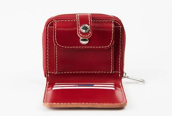 Handmade women short leather wallet zip beige red brown navy short wallet for her
