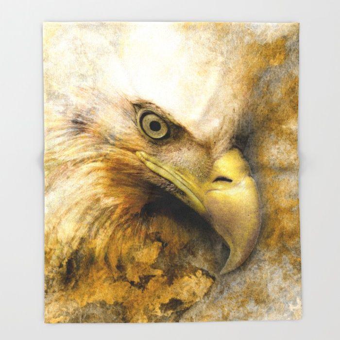 Golden Eagle Throw Blanket #eagle #digitalart #animals #birds #society6 #art #home