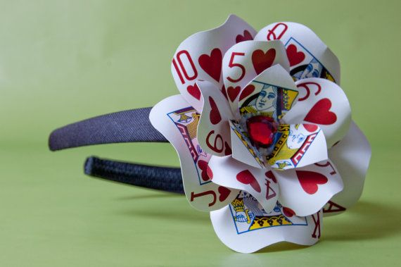 I will probably buy this. / Queen of Hearts Poker Card Headband Fascinator by LittleAsianSweatshop on Etsy