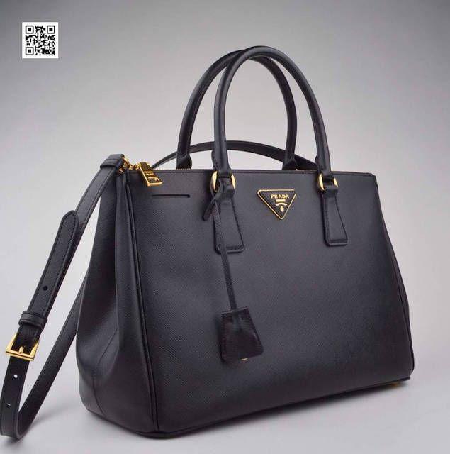 Prada Black Saffiano Doublezip Executive Tote Bag