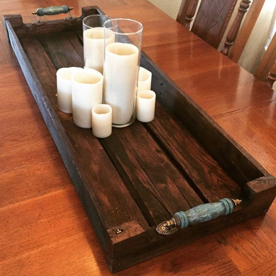 Rustic Wood Serving Tray by TheHarvestTrail on Etsy