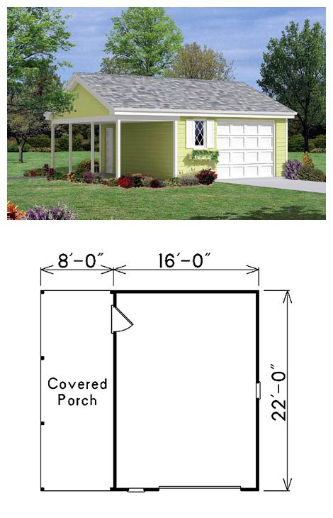 27 best one car garage plans images on pinterest garages for 2 bay garage plans