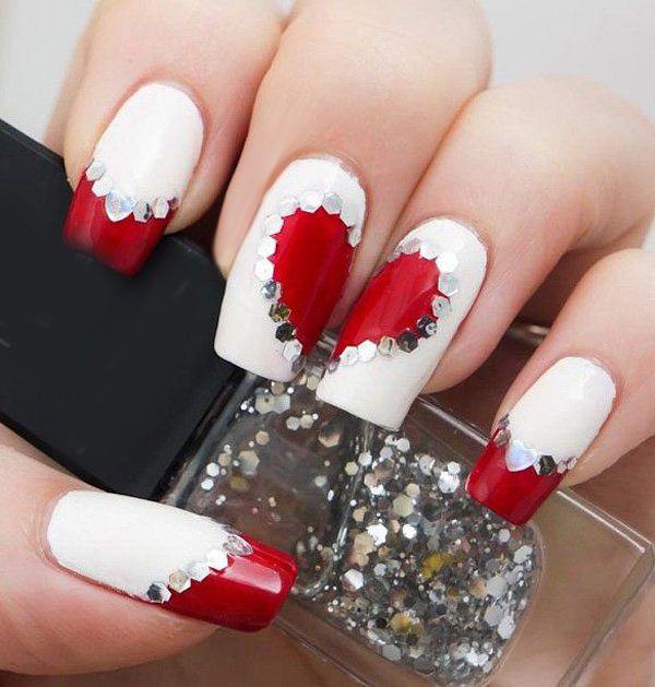 diseño de uñas para san valentin #uñaspintadas #usame #uñasconbrillos