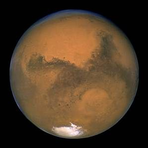 2003 image made available by NASA shows Mars photographed by the Hubble  Space Telescope on the planet's closest approach to Earth in years.