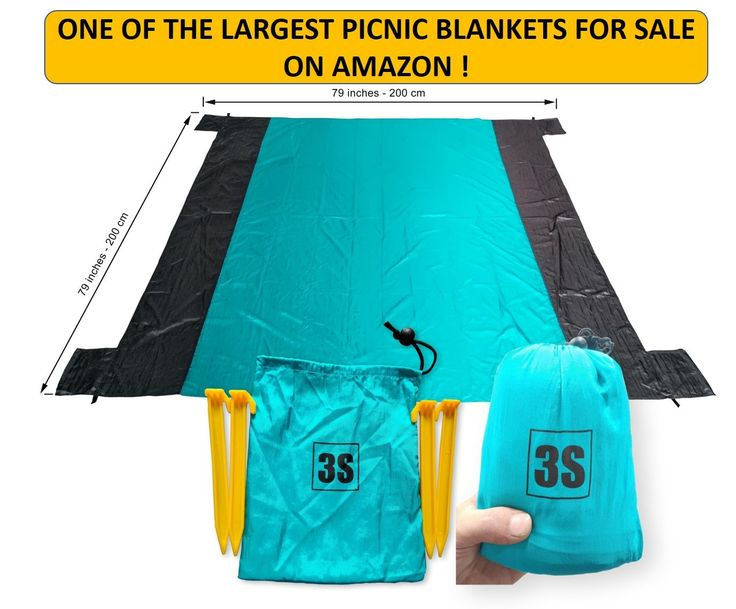 """3S Compact Picnic Blanket - 79""""x79"""" Beach, Hiking, Outdoor, Waterproof, Lightweight, Parachute nylon fabric, Quick-dry, Sand proof, Easy portable. HUGE BUT COMPACT- This XXL blanket, 79"""" X 79"""" is bigger than most other blankets on Amazon. It comes with a stuff sack with compression straps, making it super portable and compact. Easily fits 3 or 4 people. QUICK-DRY 210T PARACHUTE NYLON fabric with color fastness. It is treated with a durable water repellent (DWR) coating SAND and WATER…"""