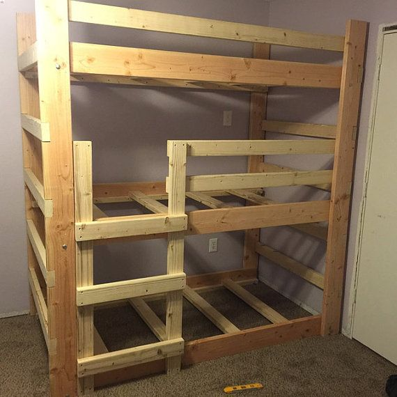 Make The Best Use Of Your Limited Space With our Custom Made Triple-Bunk-Bed In Unfinished Premium Douglas Fur. Our Triple Bunk Bed Is A Free Standing Bunk-Bed That Comes As A Ready To Assemble Kit.  Lifetime Warranty. Fully insured and Bonded. (Most Other Companies Are Not). Proud to be American Made.  Bonus Feature, shipped fully sanded (Others Sell It To You Unsanded) ready for paint or stain.  Made To Fit A Typical 8 ft. Ceiling. But Can Be Made Any Size To Fit Your Requirements.  This…