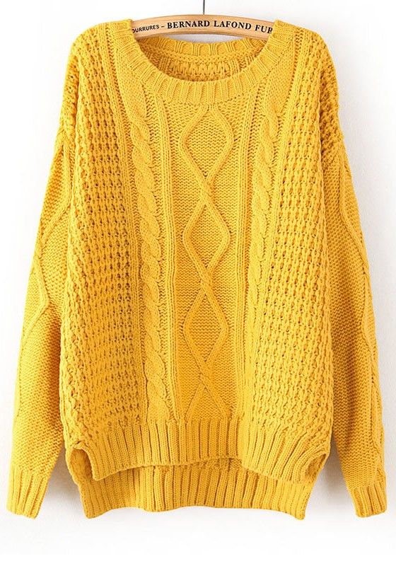 Yellow Plain Long Sleeve Straight Wool Blend Sweater yellow yellow yellow