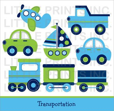 Transportation Car Sailboat Truck Airplane by LittlePrintsParties, $5.00                                                                                                                                                                                 Mais