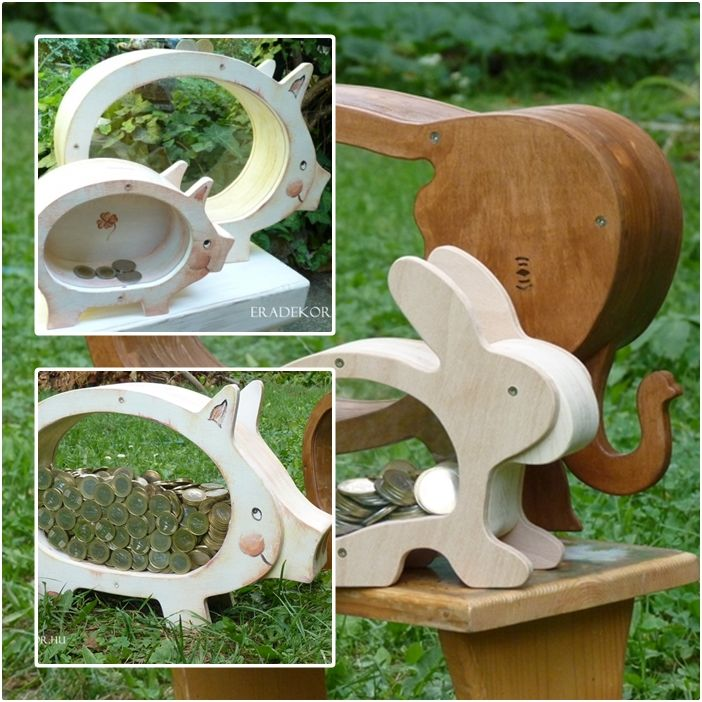 Óriás elefánt- és malacpersely; valamint normál méretű malac- és nyuszipersely fából. http://eradekor.hu/orias-nagy-malacpersely/