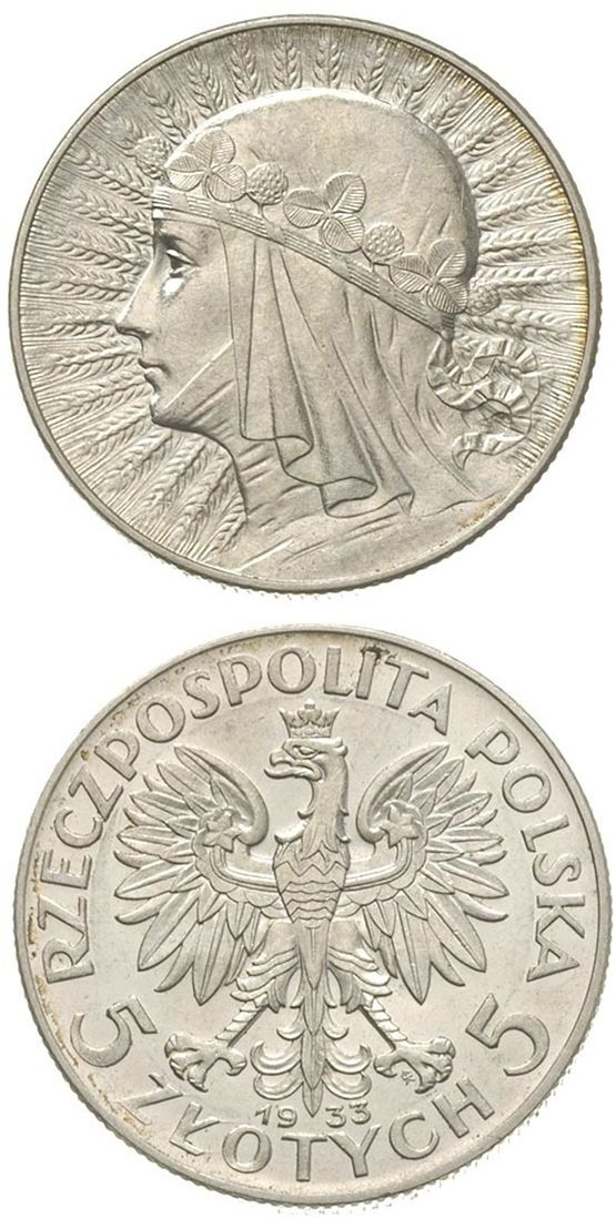 N♡T.Poland 1933 5 Zloty Queen Jadwiga Silver Coin.