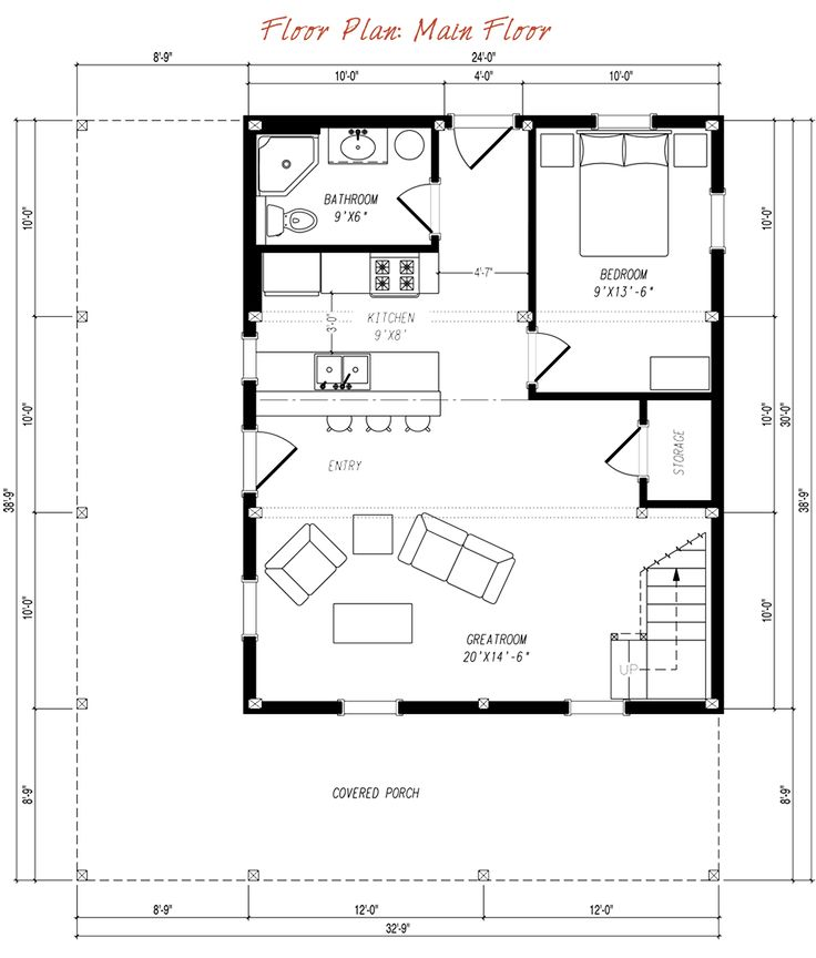 beautiful backyard cottage plans #7: 24x30u0027 bottom floor Pre-designed Barn Home Main Floor Plan Layout