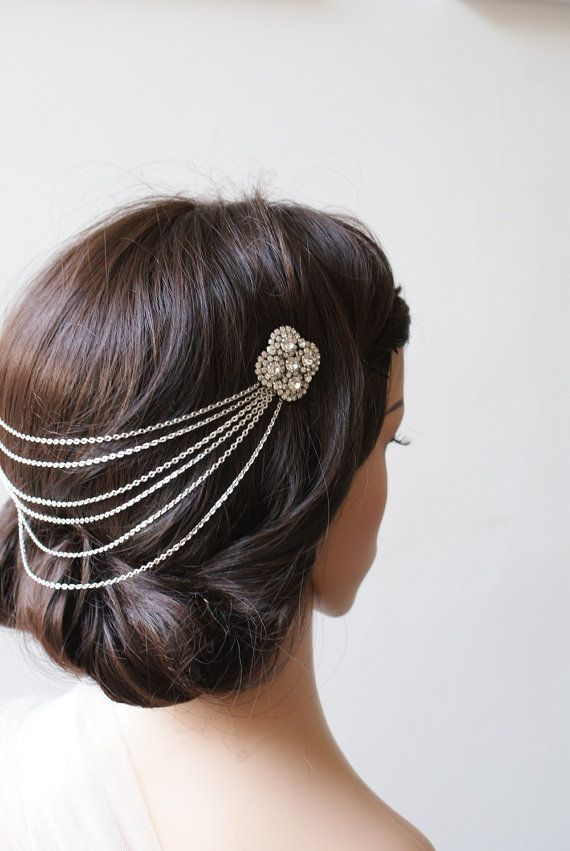 Wedding Headpiece Silver tone headchain with by RoseRedRoseWhite