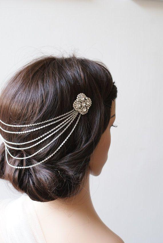 Head-chain Hair Jewellery,  Bohemian Wedding Headpiece, Silver chain Headpiece with draped detail