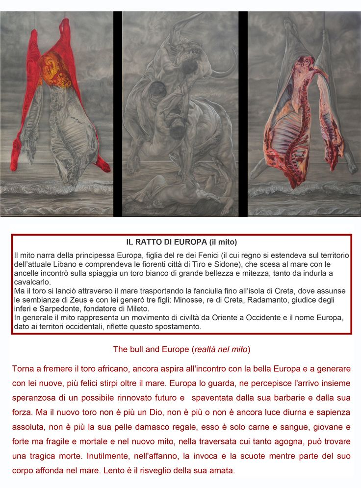 """the bull and Europe"" triptych cm 360x220"
