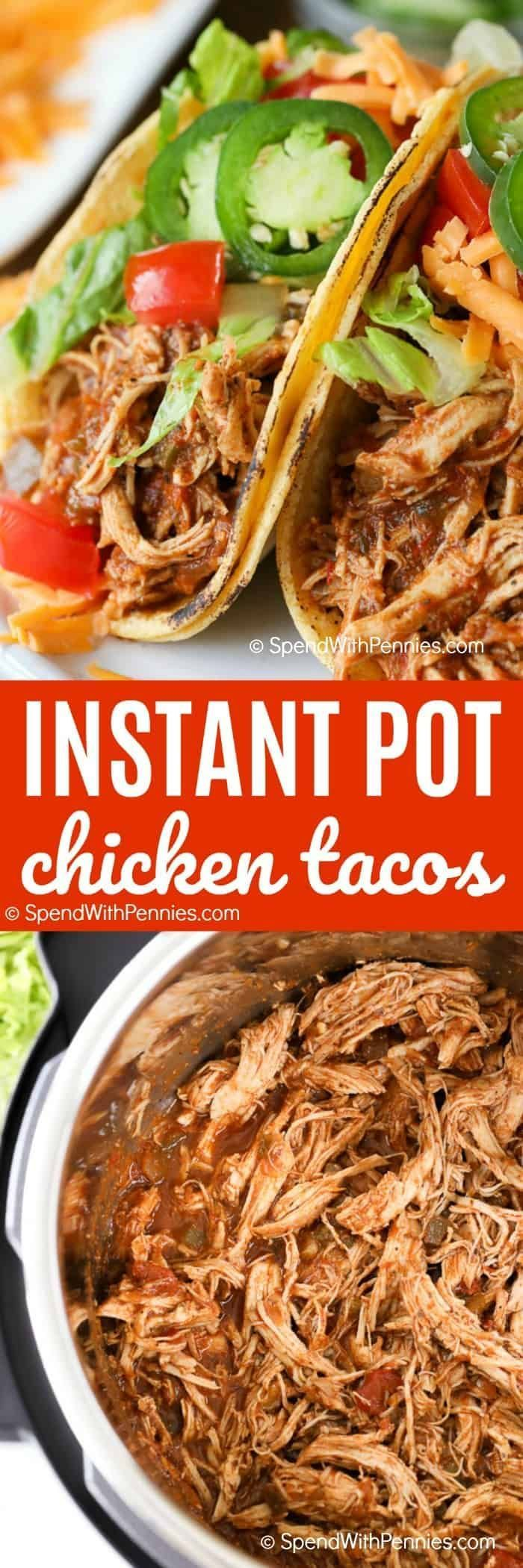 Instant Pot Chicken Tacos require 4 ingredients, that's all it takes to get st…