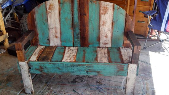 rustic reclaimed pallet bench on Etsy, $150.00