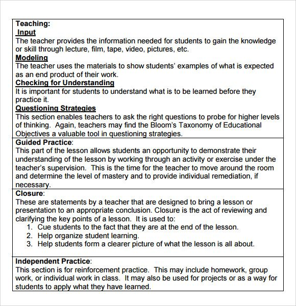 Madeline Hunter Lesson Plan Template With Images Madeline
