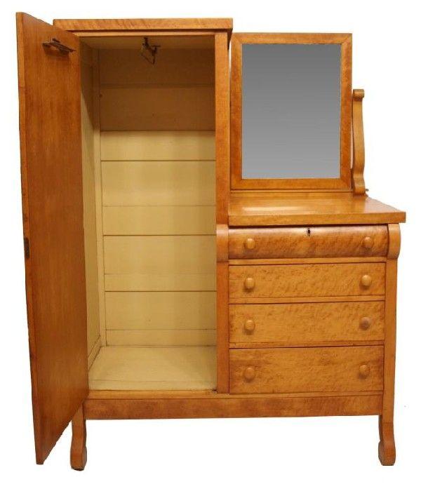 chifferobe | 345: ANTIQUE AMERICAN BIRDS EYE MAPLE CHIFFEROBE : Lot 345 · Furniture  Repair'salem's Lot - 9 Best Furniture Repair Examples Images On Pinterest Furniture