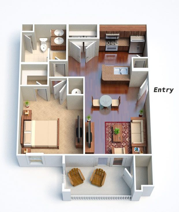 Asheville Model Home Interior Design 1264f: 11 Best 3d Floor Plans For Apartments Images On Pinterest