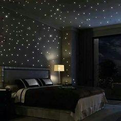 Dit is de kamer van Lien bij haar thuis. 'Ik denk aan mijn plafond thuis. Míjn plafond. Glanzend donkerblauw met een zomerse sterrenhemel. Ik heb elke plek gemarkeerd met behulp van een sterrenkaart voor ik de fluorescerende sterretjes er ook werkelijk tegen plakte.' p.34
