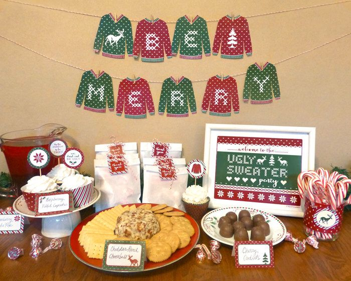 Ugly Sweater Christmas Party Printable Set: Holiday Celebration Kit - Banner, Cupcake Toppers, Invitation, Welcome Sign, Voter Cards, Tags by DesignedByMaria on Etsy https://www.etsy.com/listing/210440374/ugly-sweater-christmas-party-printable