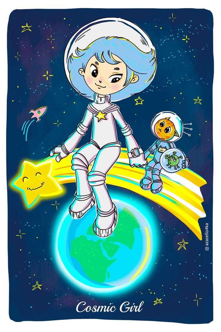 CosmicGirl. Illustrations for postcard