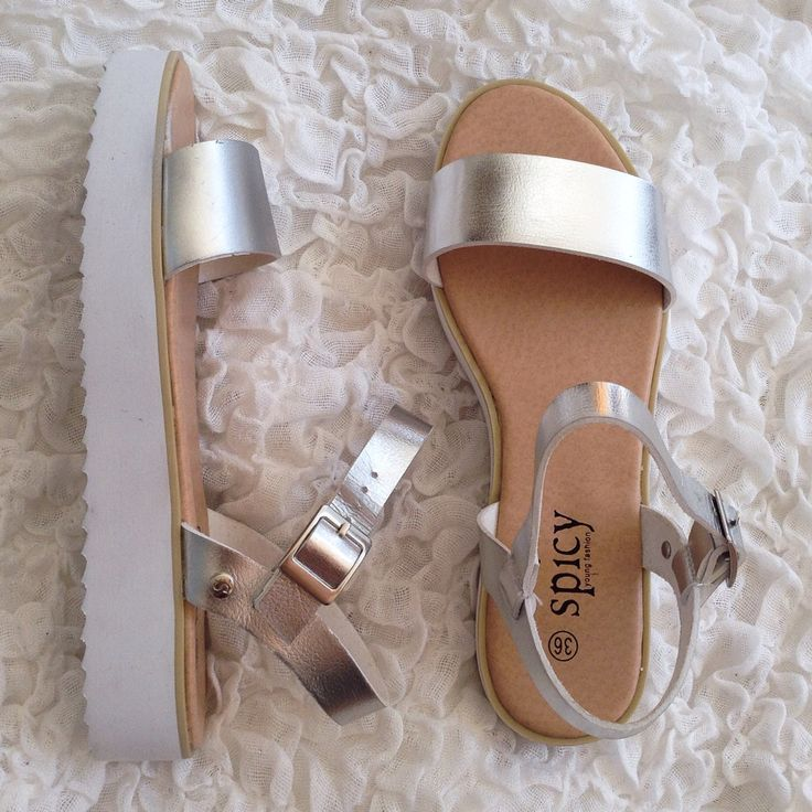 Platform silver white shoes, sandals. I am in love