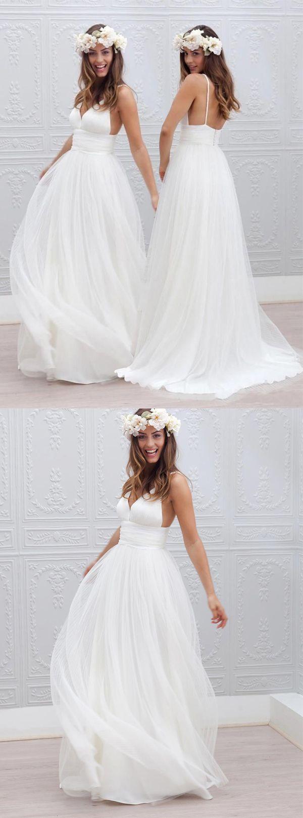 Elegant V Neck Sleeveless Long Open Back Ivory Wedding Dress Ruched Style