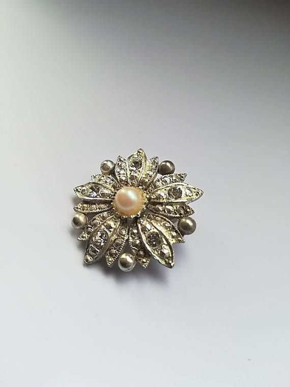 f71c5df9b Vintage 1960's beautiful flower brooch, silver coloured pin, pearl brooches,  diamante jewellery, costume jewelry, gifts birthday, wife, mum