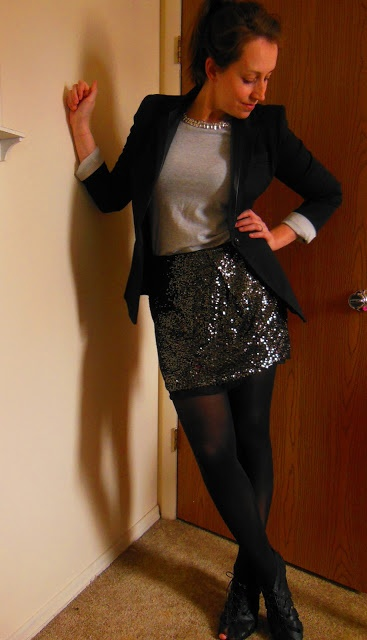 This would be a great way to style your sparkly skirt: boyfriend blazer, long sleeve tee, black tights and ankle booties.