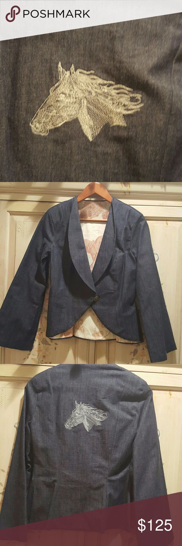 """Equestrian Denim Jacket Tailored Handmade by me detailed tailored Equestrian jacket with embroidered, by me,  stallion head on back and lined with Equestrian toile, by Ralph Lauren no longer in production lining fabric. Salmon pink on cream and denim blue...fits xs to small,,,i am size 2,,, 115 lbs,,,5'2"""" and it fits perfect,,,never worn,,I SELL THEM For 300.00,,horse and rider button,,23inch shoulder to bottom backside,,fits xs to small,,bell sleeve , Jackets & Coats Blazers"""