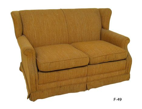 F 49 Wing Back Settee Traditional Early American Style With Gold Tweed Upholstery 60 Special Ng 125 75 Wk 1 Qty Omega Nbds In