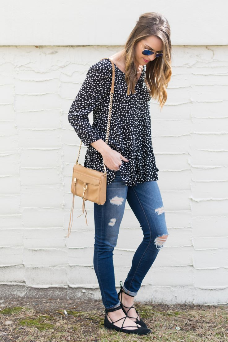Black Lace-up Flats Outfit. Distressed Jeans. Rebecca Minkoff Mini Mac | The Styled Press - A Personal Style, Beauty and Lifestyle Blog