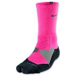 Men's Nike Hyper Elite Basketball Socks| FinishLine.com | Pink Foil/Black