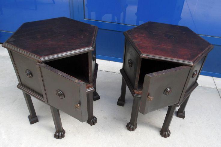 Coppia di tavolini - comodini umbertini esagonali ebanizzati '800 piede felino
