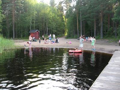 The beach of Odilampi (Espoo, Finland).
