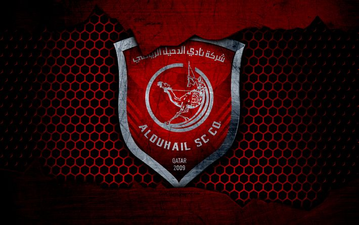 Download wallpapers Al Duhail, 4k, logo, Qatar Stars League, soccer, football club, Qatar, grunge, metal texture, Al Duhail FC