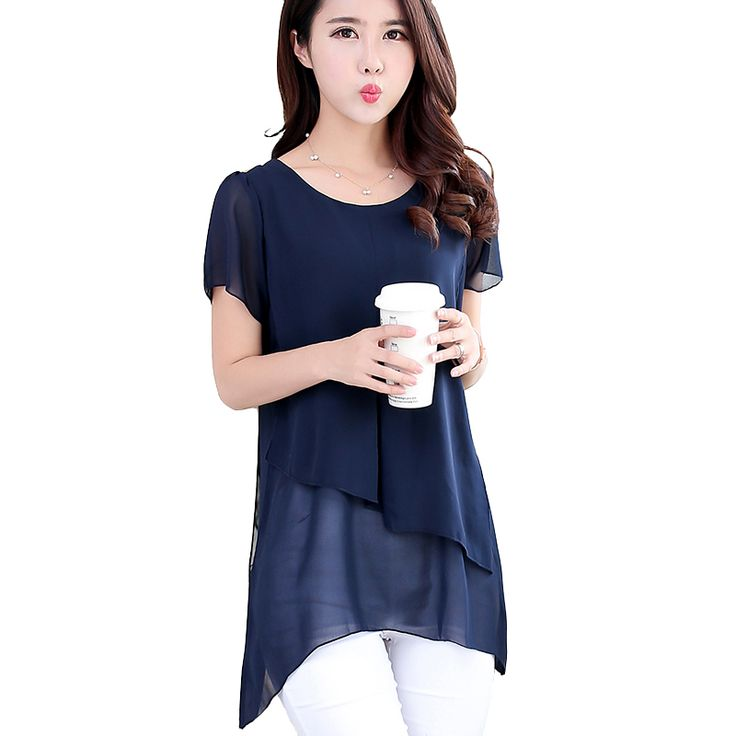 Women Casual Shirts Top Fashion 2017 Summer Style Short Sleeve Chiffon Blouse Plus Size Women Clothing Vintage Blusas Femininas #Affiliate