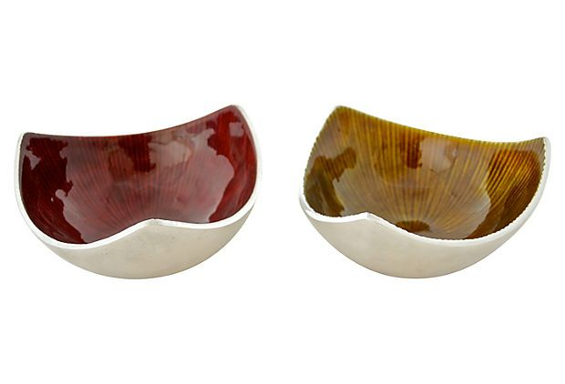 Midcentury Bowls made of Aluminum and Enamel