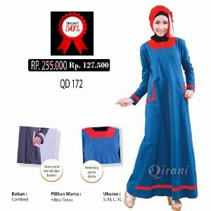 Baju Gamis Qirani QD 172 Biru Toska - Ramadhan Sale