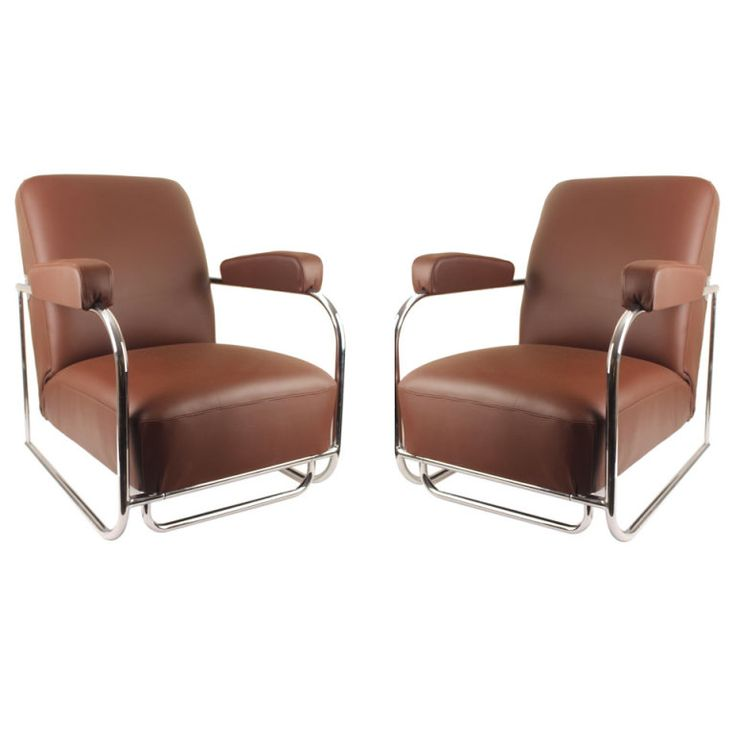 French Art Deco Jacques Adnet Lounge / Armchairs | From a unique collection of antique and modern lounge chairs at http://www.1stdibs.com/furniture/seating/lounge-chairs/