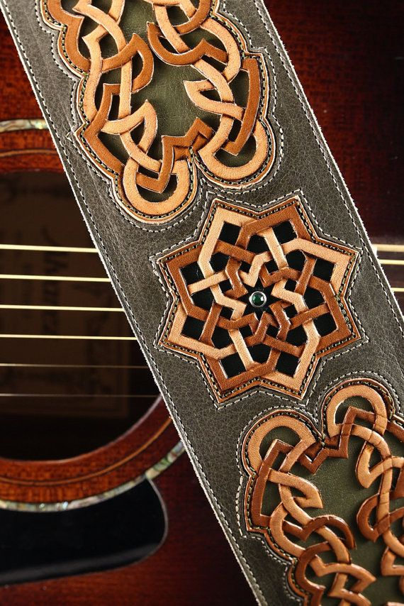 Guitar Strap  celtic designed leather guitar by EthosCustomBrands, $350.00