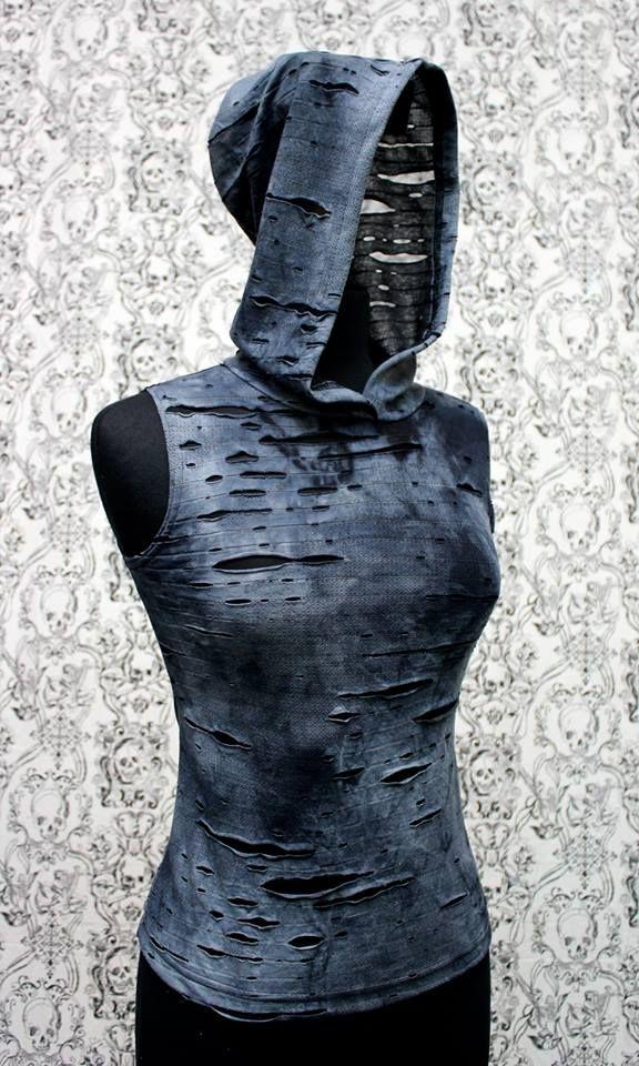 WOMEN'S HOODIE TEE - DECAYED BLUE