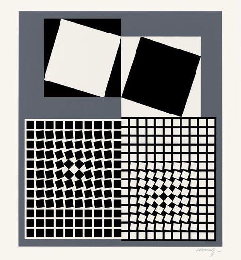 "Victor Vasarely: ""Eridan"" (1985) http://www.kunsthaus-artes.de/de/739354.00/Bild-Eridan-1985/739354.00.html#cgid=t_geometrie&start=11"